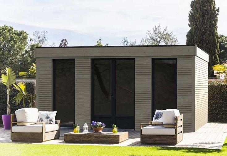 acheter en ligne ea840 b3bc7 Chalet en Bois Habitable Isolé 90 mm Double Vitrage Toit Plat 21 m²