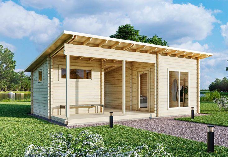 Chalet de Jardin en Bois d'Épicéa Brut avec Terrasse Luoman Kiuru 33 m²