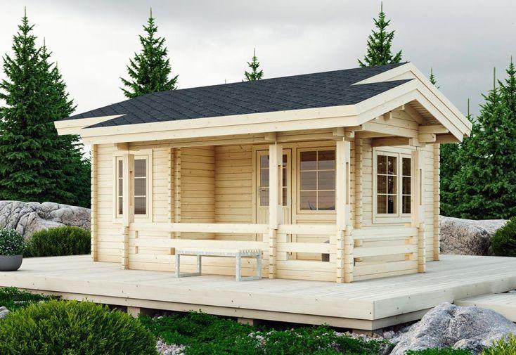 Chalet de Jardin en Bois d'Épicéa Brut avec Terrasse Luoman Tilhi 30 m²