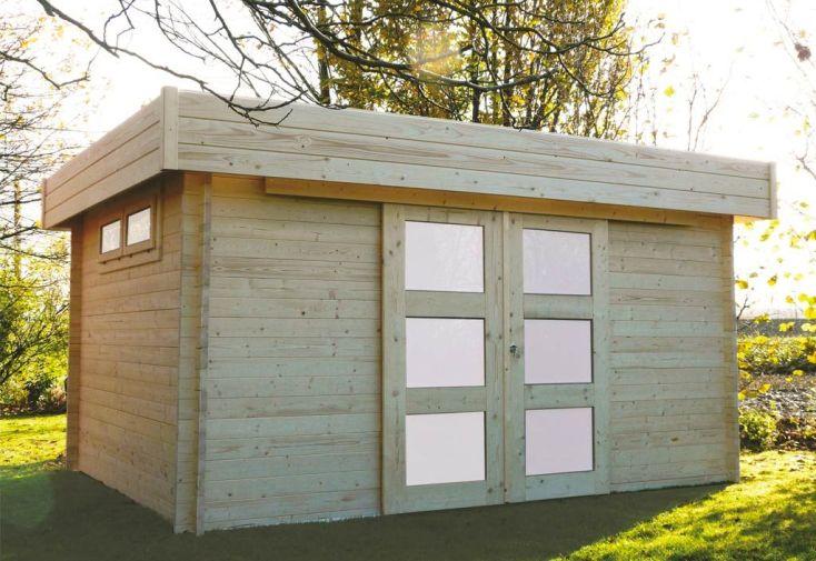 abri en bois Viborg 418 x 328 cm avec madriers épaisseur 40 mm