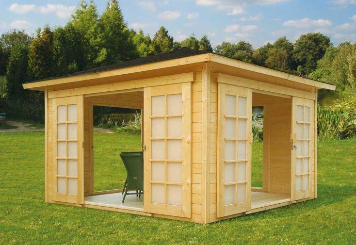 Abri de jardin bois pavilion 28mm 363x363cm solid for Porte bois abri jardin