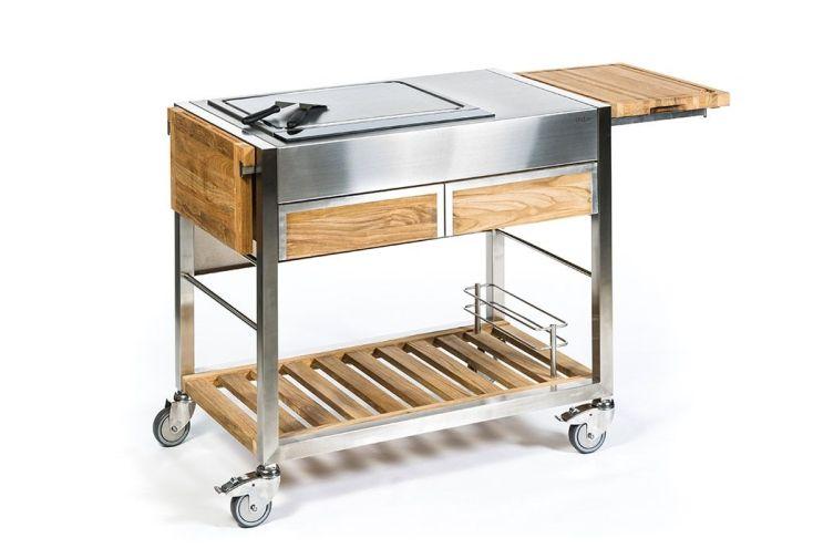 Chariot pour cuisine extérieure en acier inoxydable et teck massif