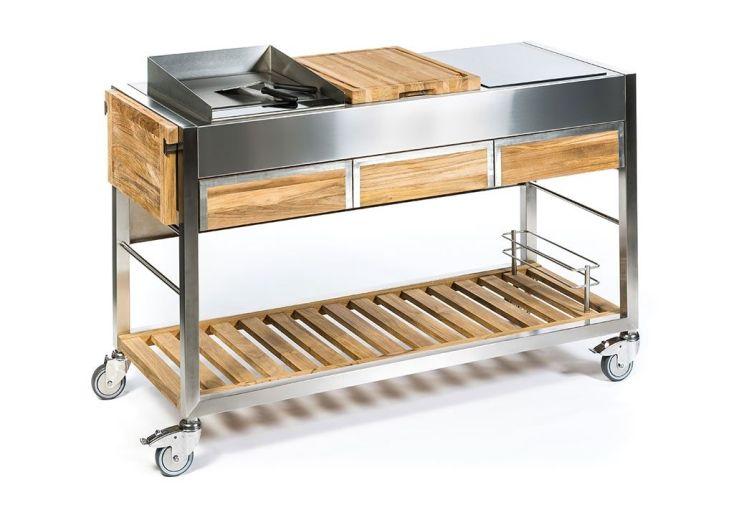 Chariot en acier inoxydable et teck massif pour Cuisine d'extérieur
