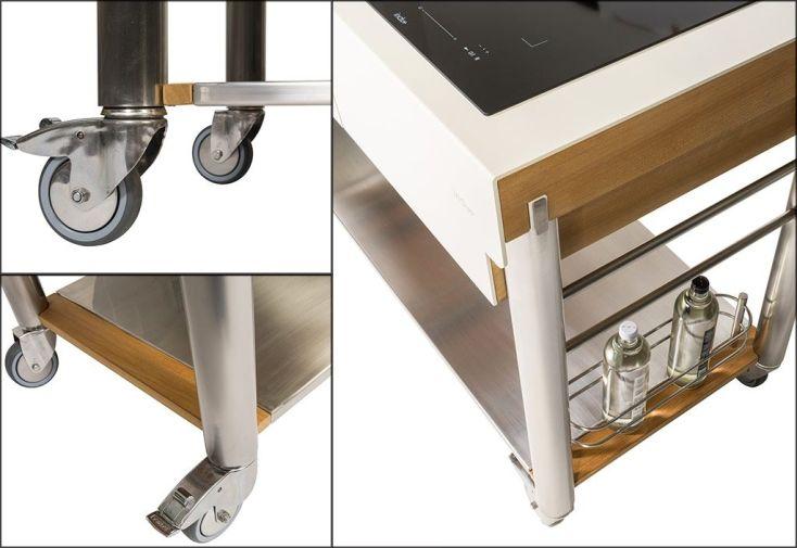 Chariot Pour Cuisine Exterieure Aluminium Et Teck Serveboy Duo Unico