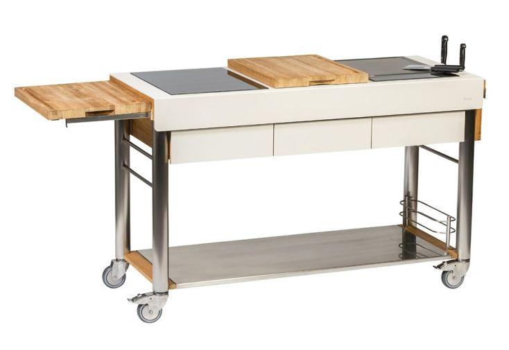 Chariot pour cuisine d'extérieur 140 cm 3 plaques de cuisson