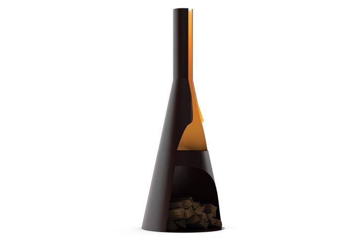 Cheminée de jardin en acier noir 2 dimensions Kerria Huugy