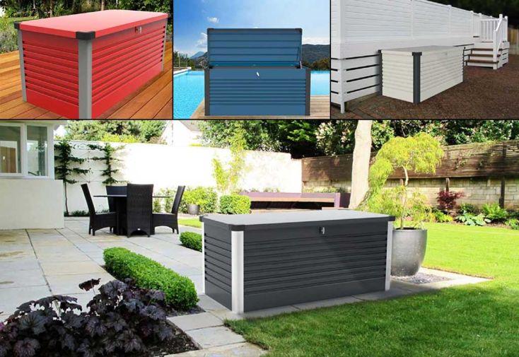 Coffre de Rangement Design en Métal PatioBox 135x78,5x72cm (4 Coloris)