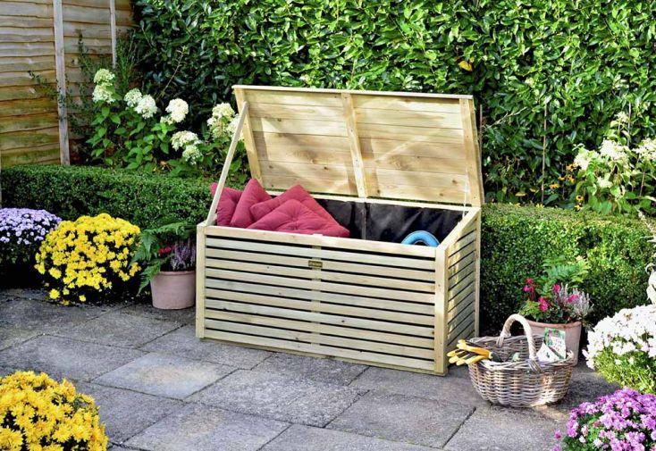 Coffre de Rangement en Bois Wooden Patio Storette 122x60x69cm