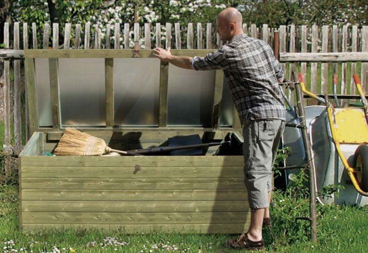 Coffre de jardin en bois de pin traité et tôle galvanisée Weka 78 x 188 cm