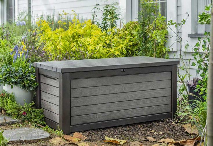 Coffre de rangement extérieur en plastique imitation bois Keter Brushwood 630 L