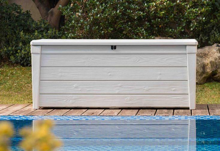 Coffre de jardin Keter en plastique imitation bois blanc