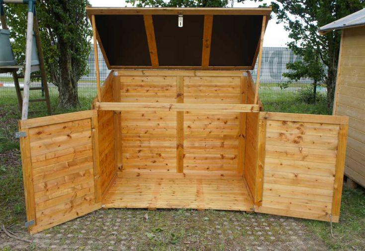 Coffre de rangement en bois trocadero 1200l chal t jardin - Rangement buches exterieur ...