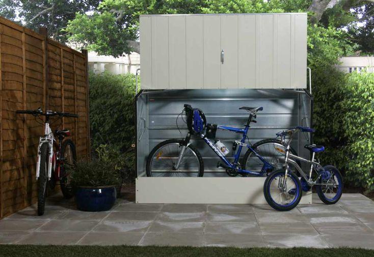 coffre de vélo à installer dans le jardin en acier galvanisé blanc