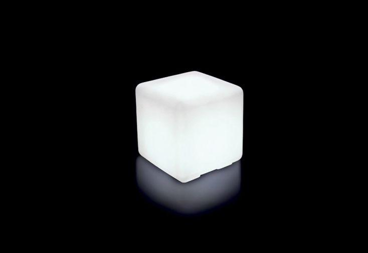 Cube de Jardin Lumineux Polyéthylène Blanc