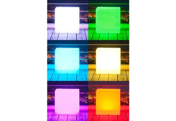 Cube Lumineux Multicolore Etanche avec Télécommande sur Secteur 40 cm