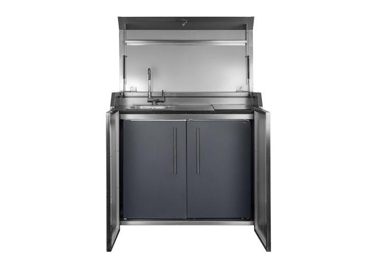 Cuisine extérieure en acier avec évier, placards et plaque à induction Stengel Duplex Box 2