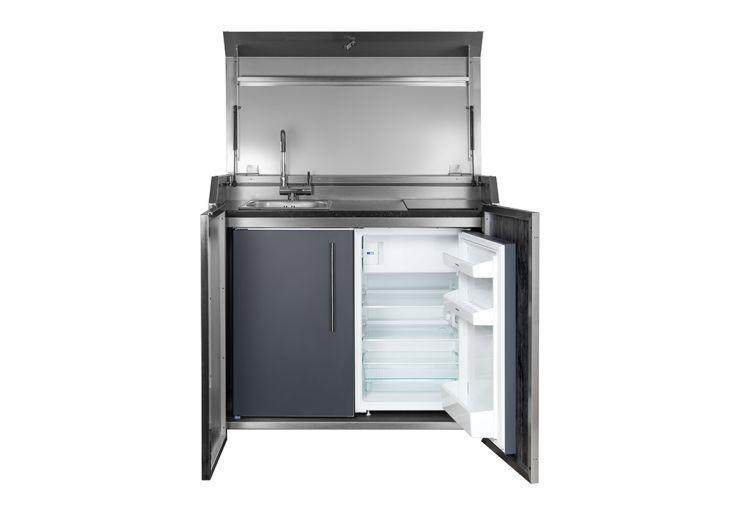 Cuisine extérieure complète avec évier, plaque à induction et frigo Stengel Duplex Box 3 anthracite