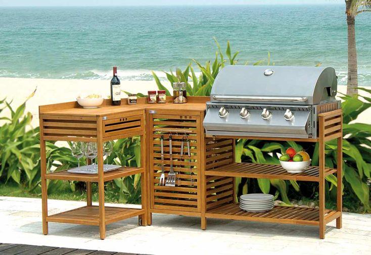 Petite cuisine d 39 ext rieure en bois lea barbecue gaz for Chariot cuisine exterieure
