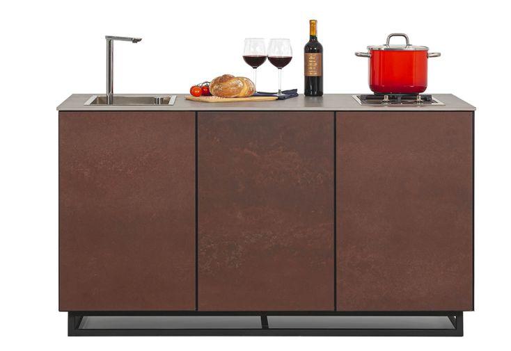 cuisine d'été en céramique et acier CANA Style marron à 3 modules 1 feu
