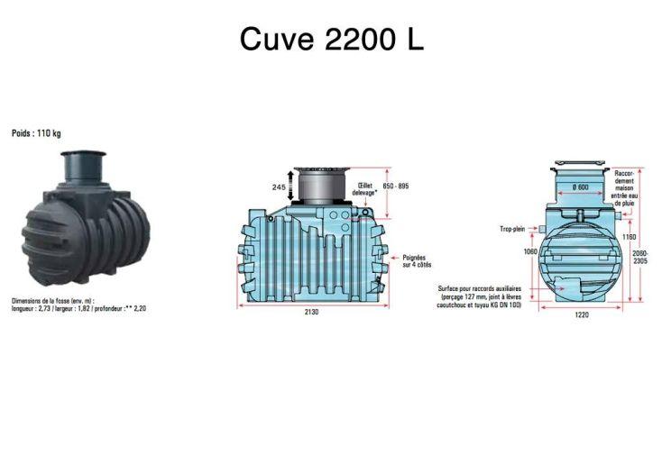 Cuve Rétention d'Eau de Pluie 2200 L