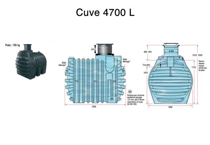 Cuve Rétention d'Eau de Pluie 4700 L