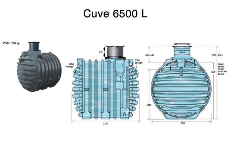 Cuve Rétention d'Eau de Pluie 6500 L