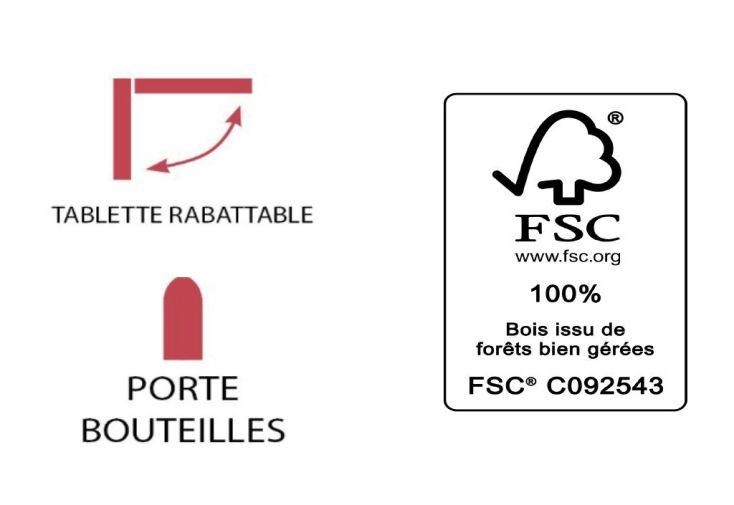 Desserte en Bois FSC et Métal Média L 65 x 122 x 80 cm
