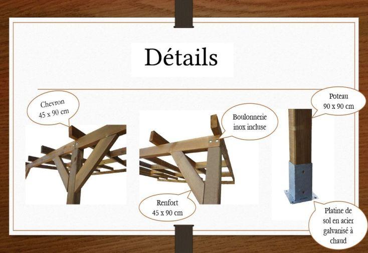 détails de pergola en bois sans couverture