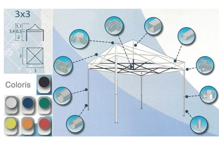 Tente Reception Pliante Aluminium Cebu 3x3
