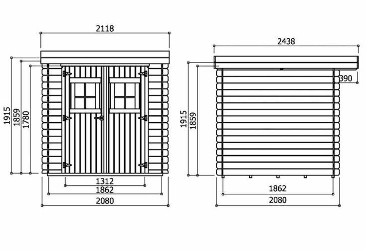 Abri de Jardin Bois Lanten 19mm (208x208cm)