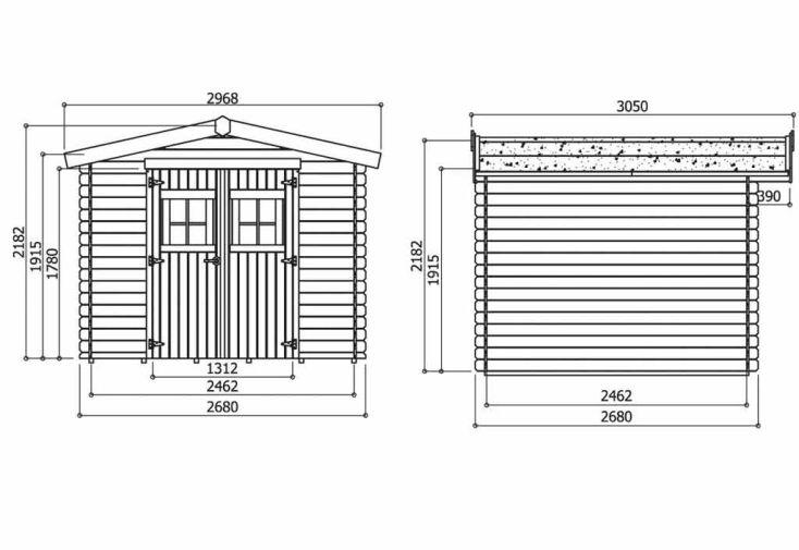 Abri de jardin bois heidelberg 16mm 268x268 chalet for Dimension portillon de jardin