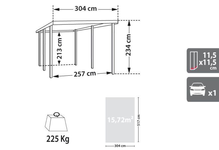Carport Bois Double Enzo 2 Voitures Teinté Marron (6x5,1x2,73)