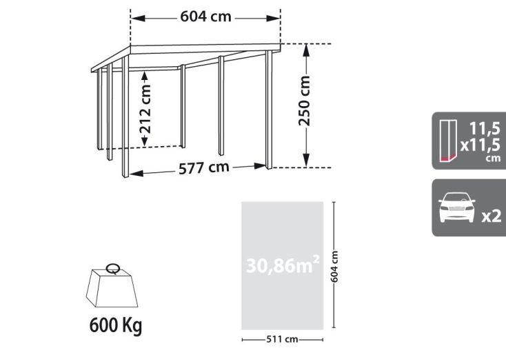 Carport Bois Double Anselme Arcs Latéraux (6x5,1)