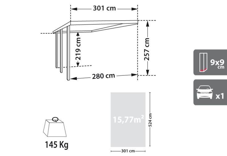 Carport Bois Adossant Gus (3x5,2x2,5)