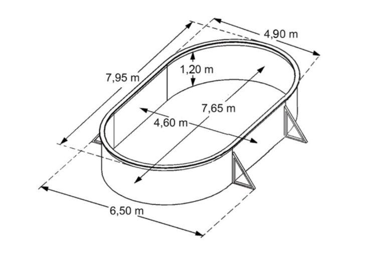 Piscine en Métal Hors-Sol Ovale Saphir 795x490cm + Accessoires