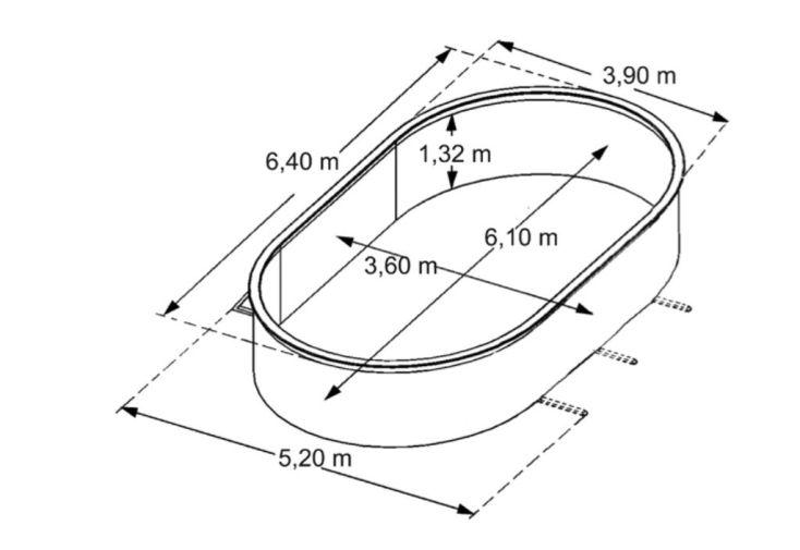 Piscine en Métal Aspect Bois Hors-Sol Ovale 640x390cm + Accessoires