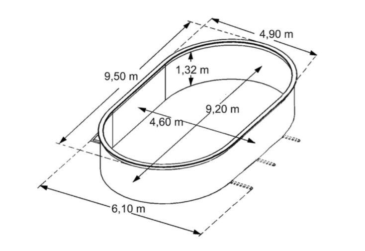 Piscine en Métal Aspect Bois Hors-Sol Ovale 950x490cm + Accessoires