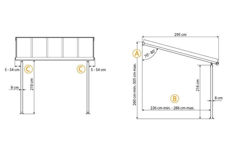 Dimensions ajustables de la pergola aluminium Olympia