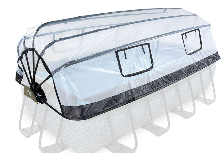 Dôme de protection pour piscine rectangulaire avec couverture en PVC