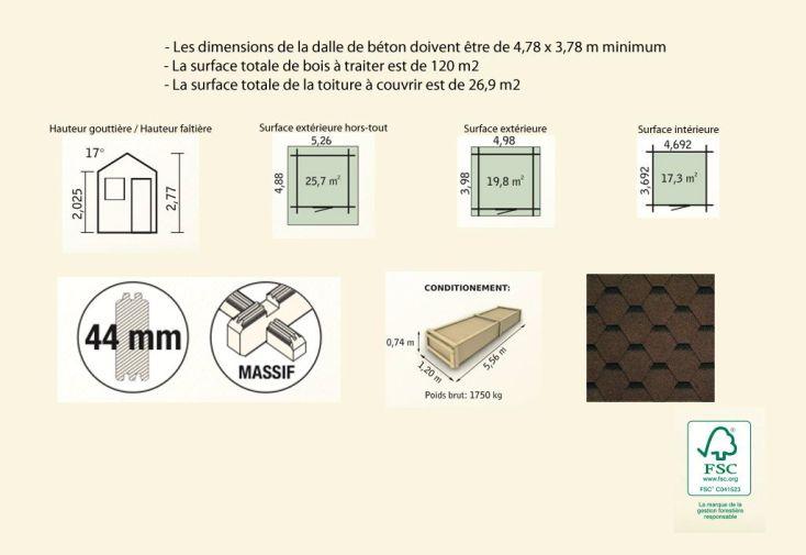 Abri de Jardin Bois Laurier 17 (398x498x277) 44 mm