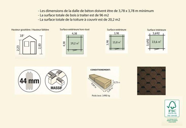Abri de Jardin Bois Palmier (398x398x283) 44 mm