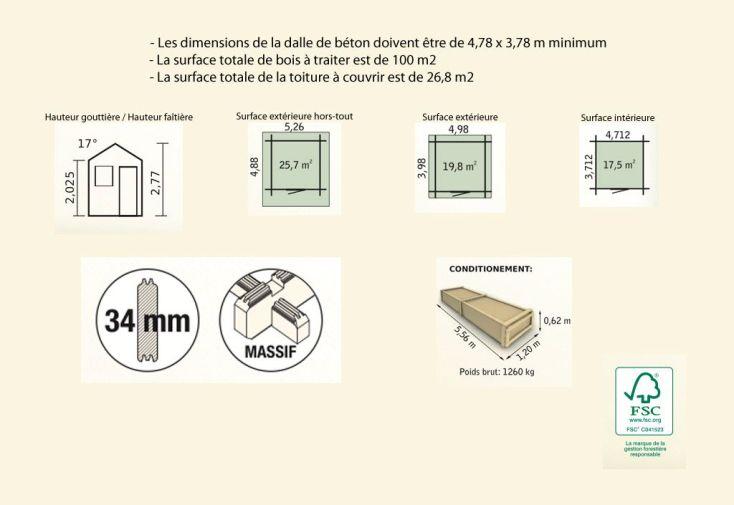 Abri de Jardin Bois Pavier (498x398x277) 34 mm