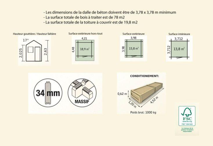 Abri de Jardin Bois Pommier 14 (398x398x263) 34 mm