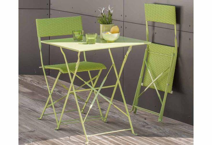 Ensemble de Jardin Gueridon + 2 Chaises Verts