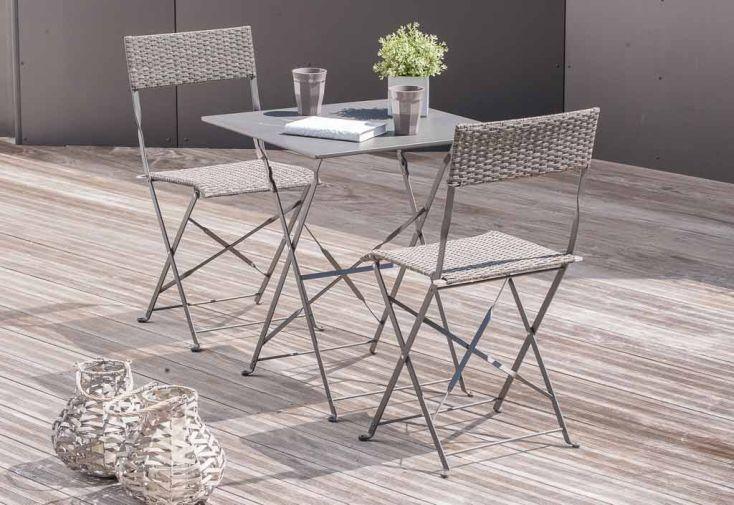 ensemble de jardin gueridon 2 chaises gris dcb garden. Black Bedroom Furniture Sets. Home Design Ideas