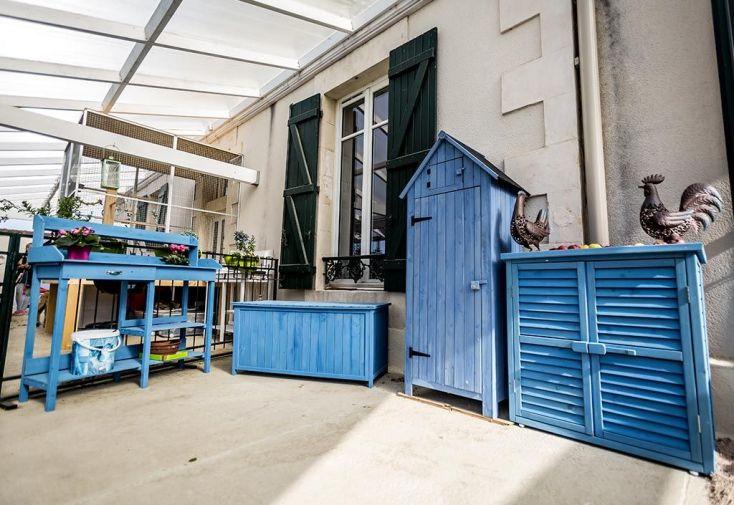 Ensemble de Meubles de Jardin en Bois Lasuré Bleu (4 pièces)