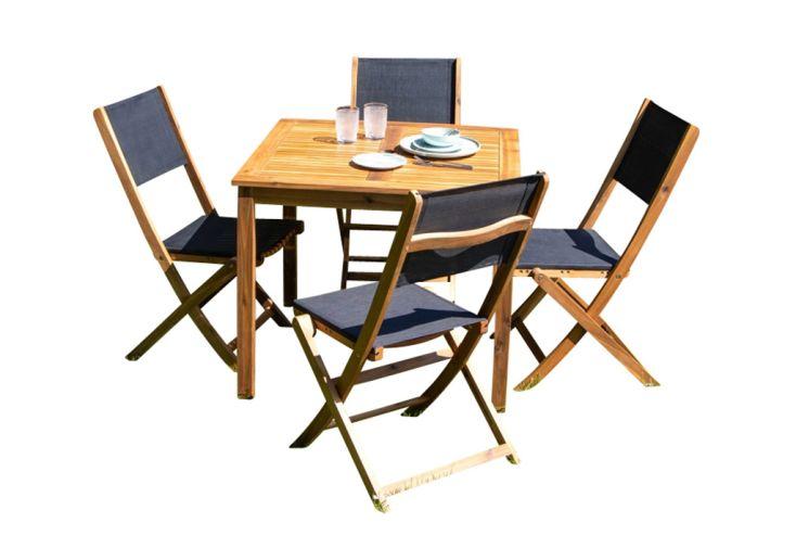 Table et chaises de jardin pour quatre personnes en bois d'acacia