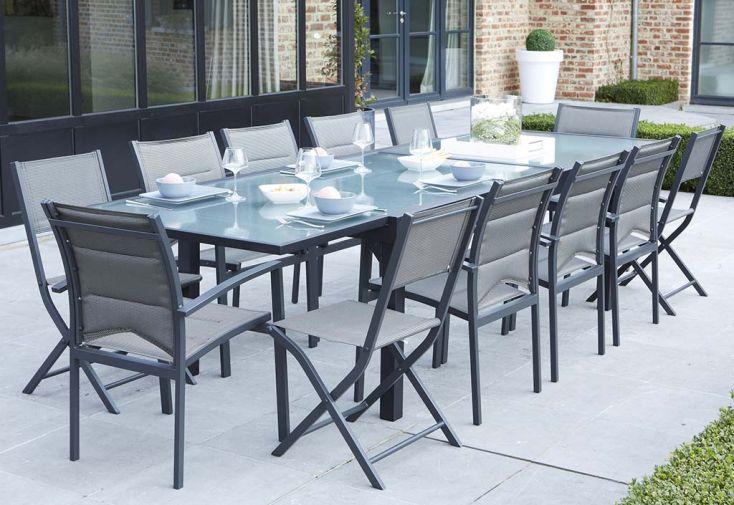 Salon de Jardin Modulo : Table Extensible + 12 Fauteuils (4 Coloris)