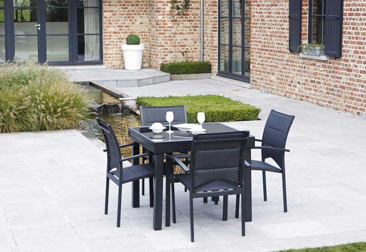 Salon de Jardin Modulo : Table Extensible + 4 Fauteuils (5 Coloris)