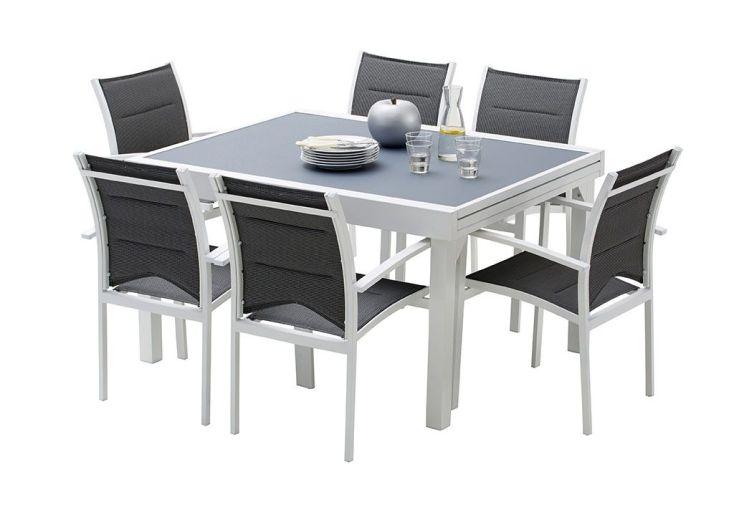 Salon de Jardin Modulo : Table Extensible + 6 Fauteuils (5 Coloris)